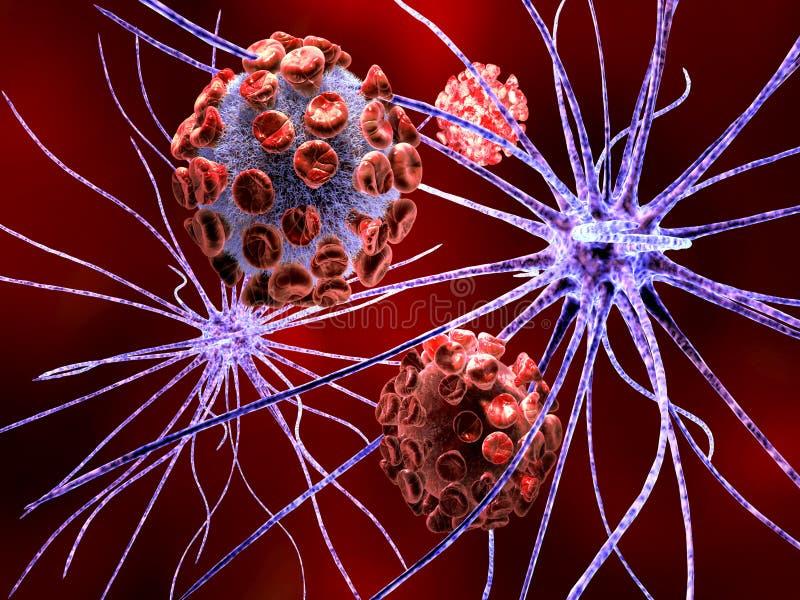 Cellule nerveuse attaquée par le virus illustration libre de droits
