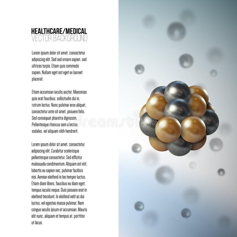 Cellule scientifique médicale Conception graphique abstraite de structure de molécule, de fond de vecteur pour la brochure, d'ins illustration de vecteur