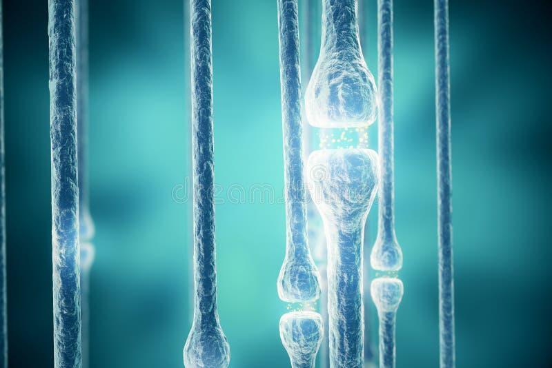 Cellules de synapse et de neurone envoyant les signaux chimiques électriques rendu 3d illustration libre de droits