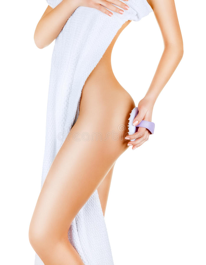 Cellulitemassage stockfoto