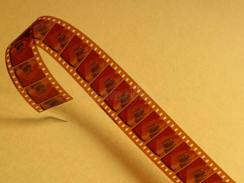 Celluloïde de film au-dessus d'un fond jaune photographie stock