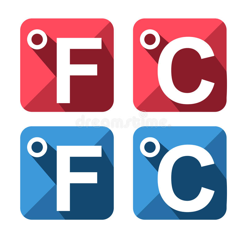 Celsius And Fahrenheit Symbol Icon Set Stock Vector Illustration