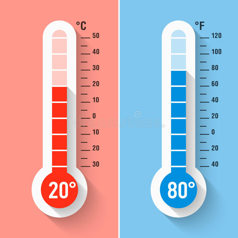 Celsius And Fahrenheit Thermometers Stock Image - Image of ...