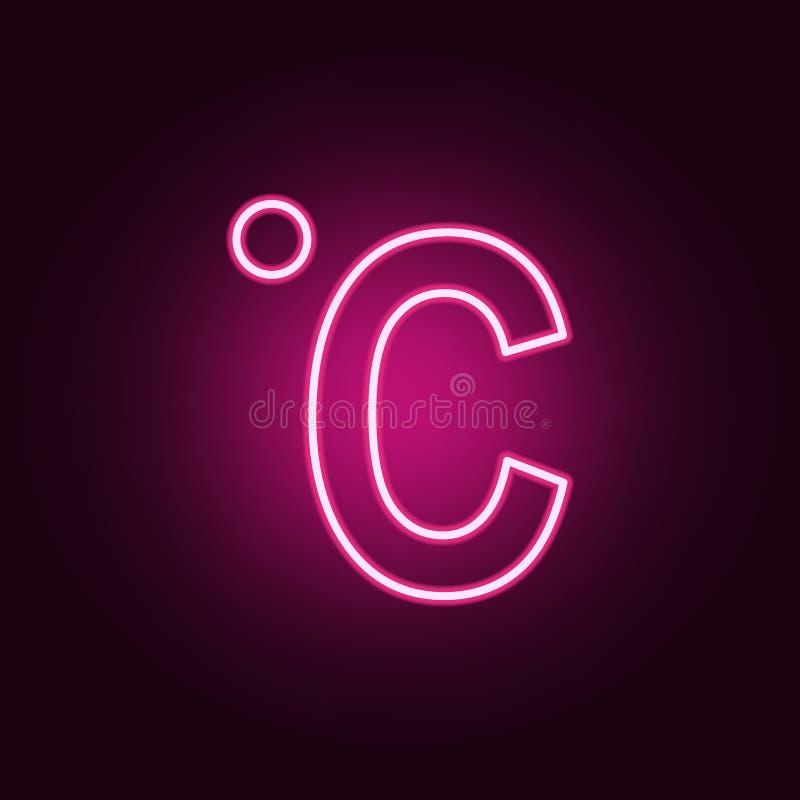 Celsius neonowa ikona Elementy sie? set Prosta ikona dla stron internetowych, sie? projekt, mobilny app, ewidencyjne grafika ilustracji
