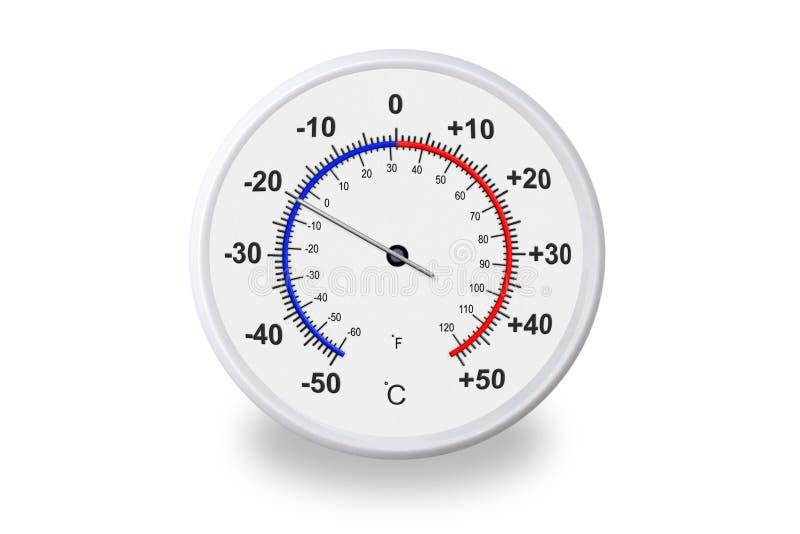 Celsius und Fahrenheit skalieren Thermometer mit Schatten auf weißem Hintergrund lizenzfreie stockfotografie