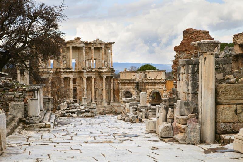 Celsus arkiv i Ephesus royaltyfria foton