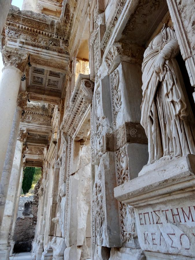 Celsus Library in Ephesus ancient city. Library of Celsus in Ephesus ancient city. Ä°t was build in 117 A.D.Ä°ts was a monumental tomb for Gaius Julius royalty free stock images