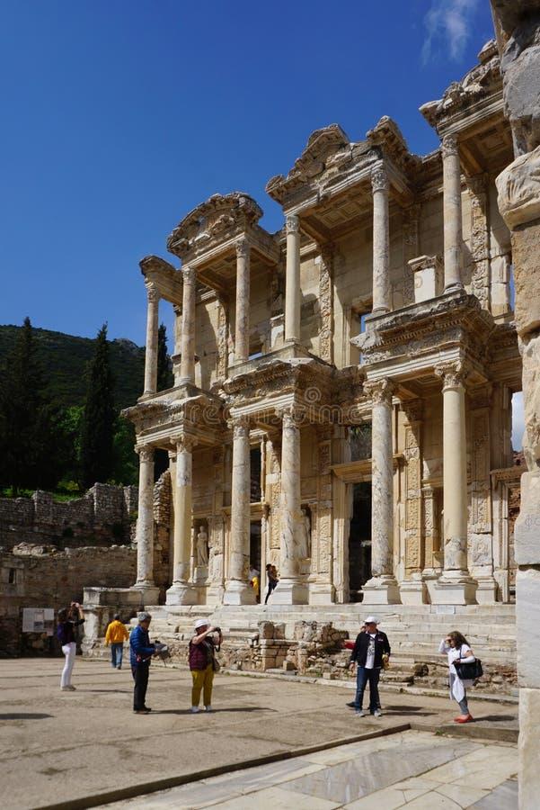 Celsusbibliotheek één van de mooiste structuren in Ephesus, de Oude Griekse en Roman ruïnes stock afbeelding