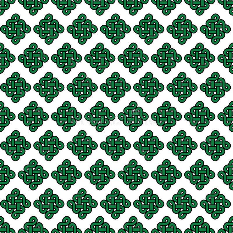 Celt kępki stylowego niekończący się symbolu bezszwowy wzór W zieleni z czarnym uderzeniem na białym tle inspirującym irlandczyka royalty ilustracja