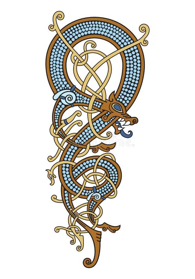 Celt, Skandynawski rocznika wzór jest w postaci kręconego smoka ilustracji