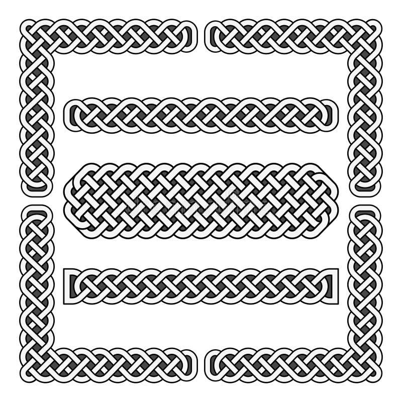 Celt supła wektorowe średniowieczne granicy i narożnikowych elementy ilustracja wektor