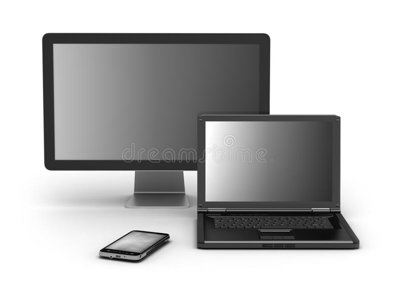 Celtelefoon, laptop en computermonitor vector illustratie