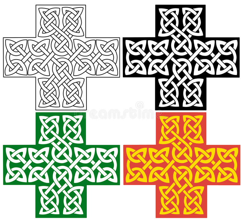 Celtic cross. Cross decorated with celtic knots ornament. The cross comes in four variations royalty free illustration