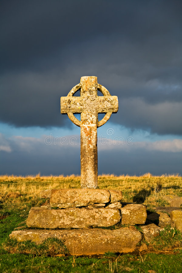 Celtic Cross. In end of day light royalty free stock photo