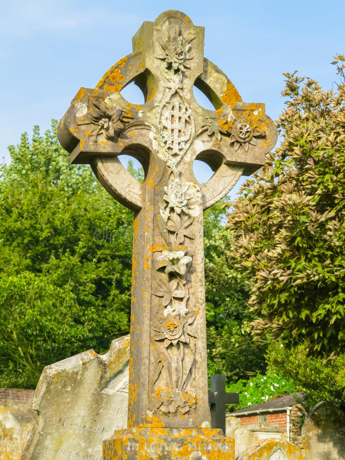 Celtic cross on the medieval cemetry. On the Guernsey Island, Channel Islands royalty free stock photography