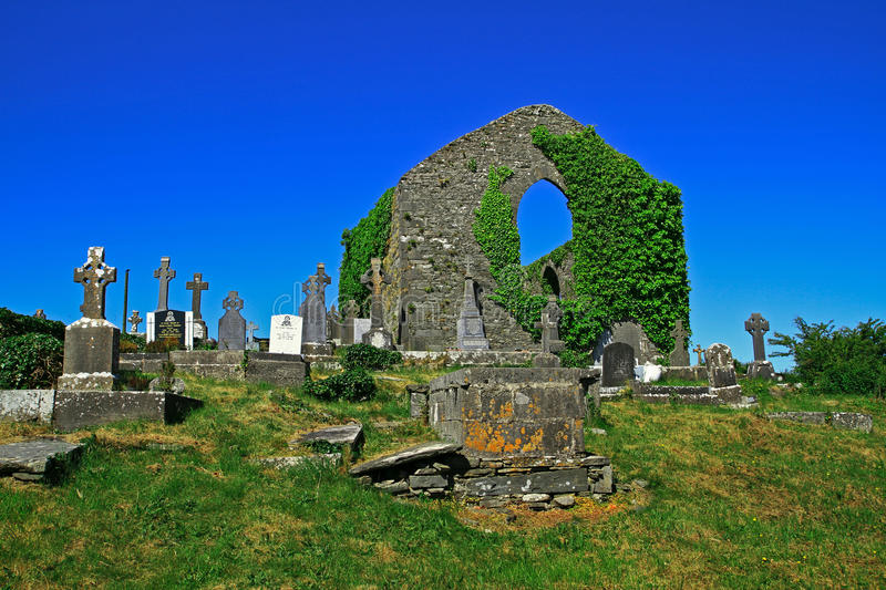 Celtic crosses. Irish cemetery with celtic crosses - Ennistymon stock image
