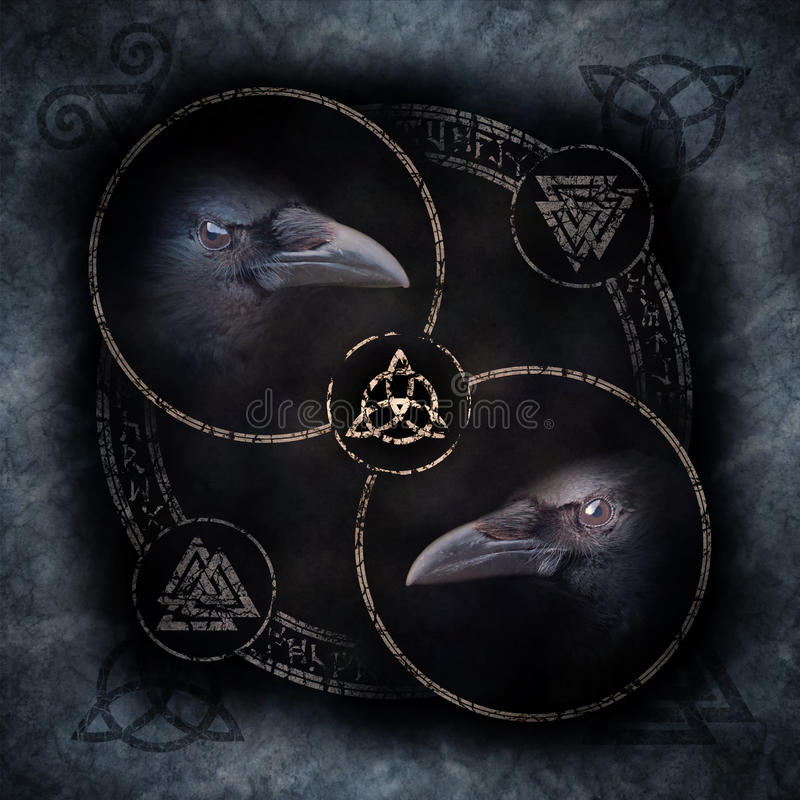Celtic Crow Circle. With two sinister crow heads materialising within a circular emblem of elaborate Celtic, pagan and runic symbols stock photos