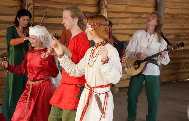 Celtic dances stock photo