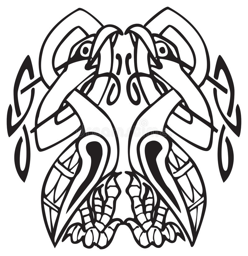 Celtic Design With Knotted Lines Of Two Birds Royalty Free Stock Images