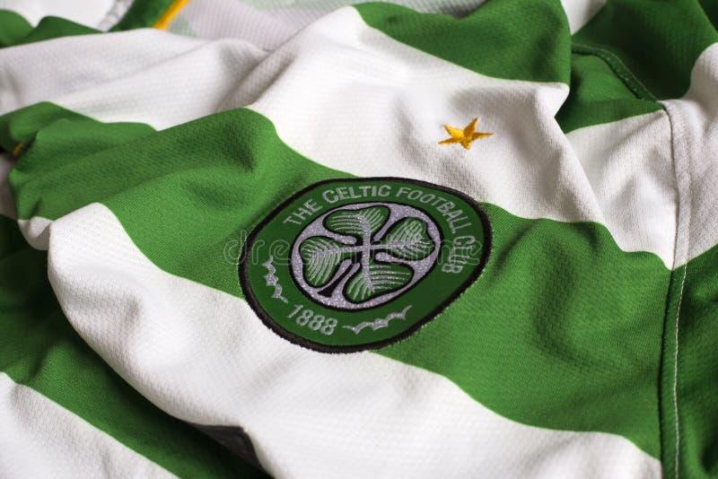 Celtic FC emblem. Scottish football club FC Glasgow Celtic emblem on football jersey stock photos