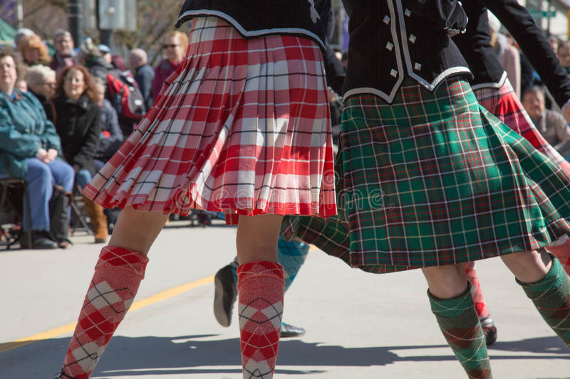 Celtic festival girls dancing. Group young females Scottish dance stock photography