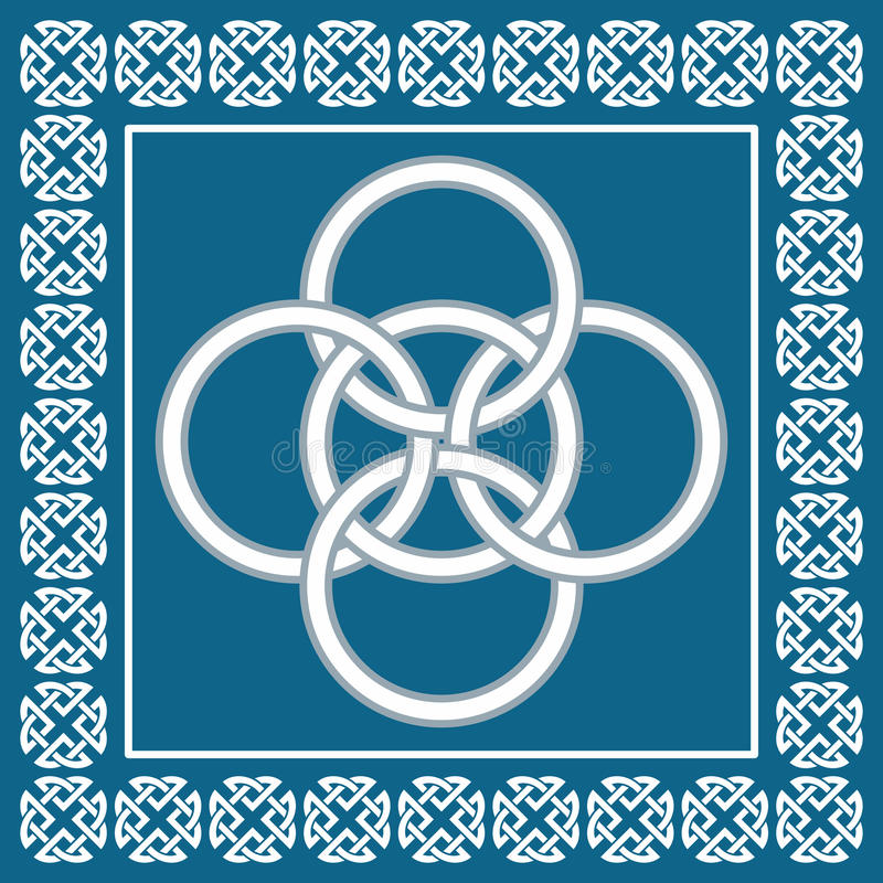 Celtic Five Fold knot ,symbolizes integration of four elements stock illustration