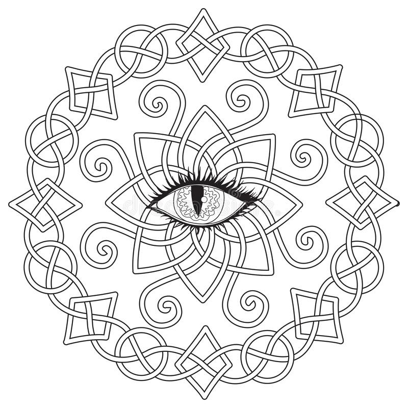 Celtic frame with vampire eye in the middle, Halloween theme for coloring book, coloring page for anti stress, printed tee and so royalty free illustration