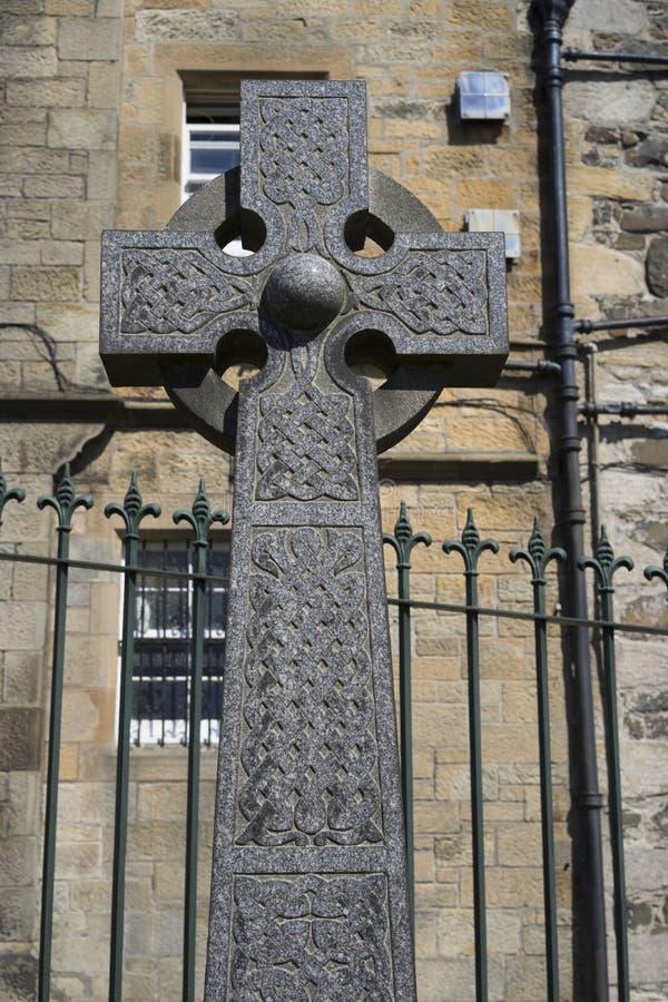 Celtic gravestone cross - intricate knotwork stock photography