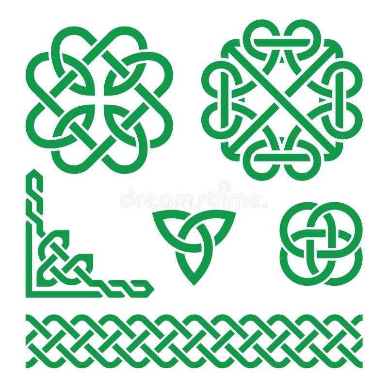 Celtic green Irish knots, braids and patterns stock illustration
