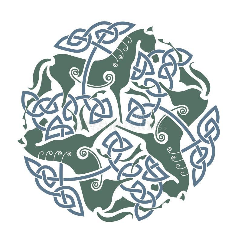 celtic hästprydnad vektor illustrationer