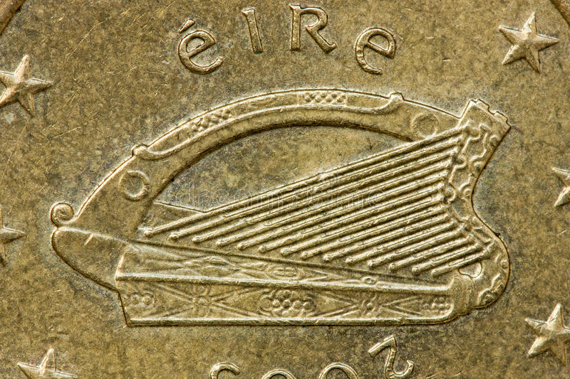 Celtic Harp of Ireland. Irish 50 Euro Cent Coin Obverse Showing the Celtic Harp of Ireland, with the word Eire royalty free stock images