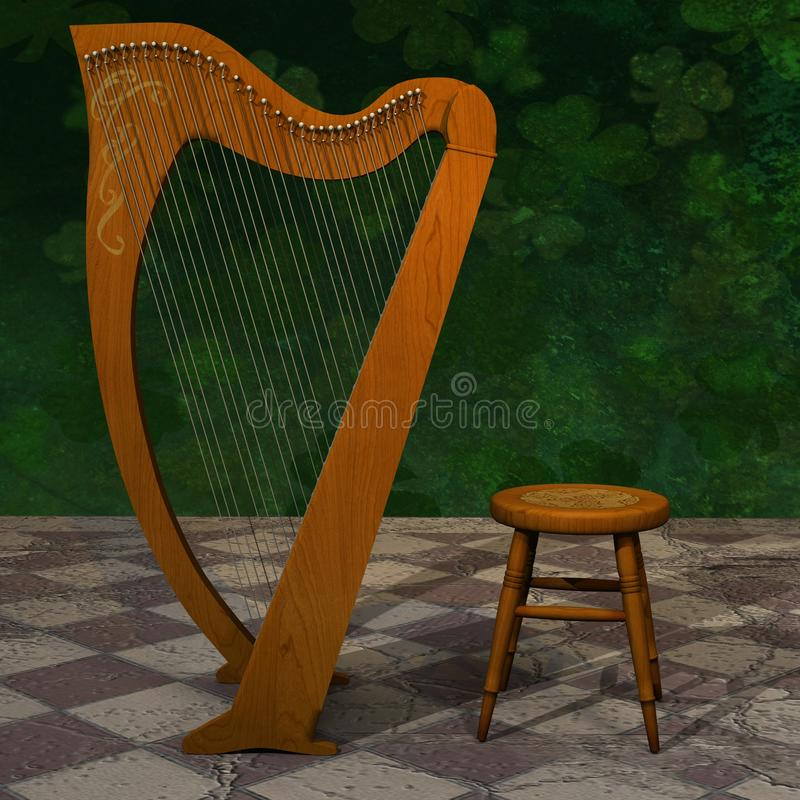 Celtic Harp for St Patrick Day. royalty free stock photo