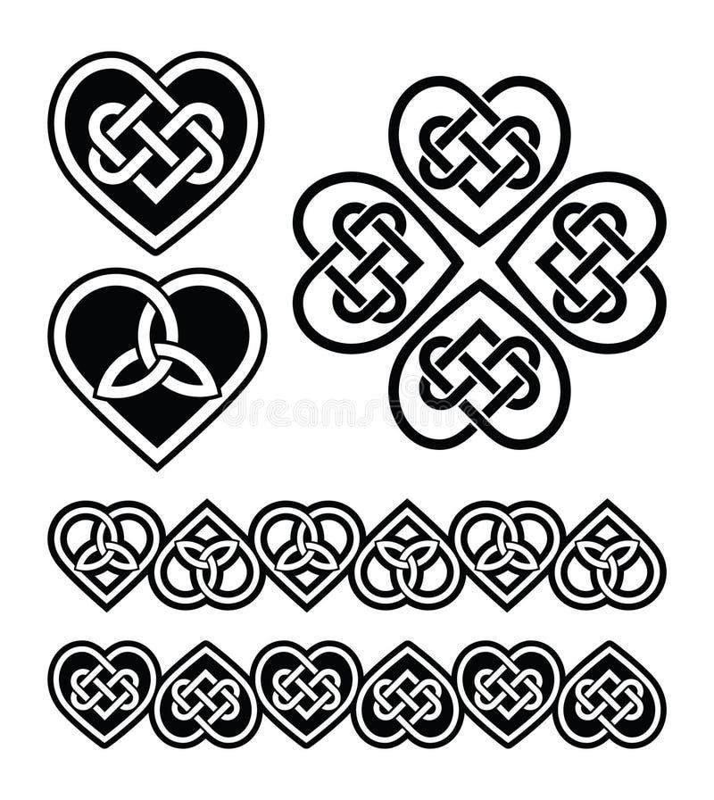 Celtic heart knot - symbols set vector illustration