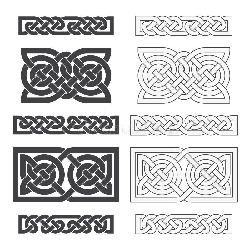 Celtic horisontalfnuren för vektor etnisk prydnad vektor illustrationer