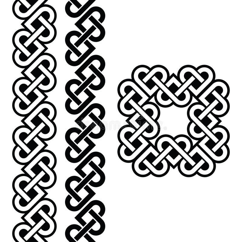 Celtic Irish knots, braids and patterns stock illustration