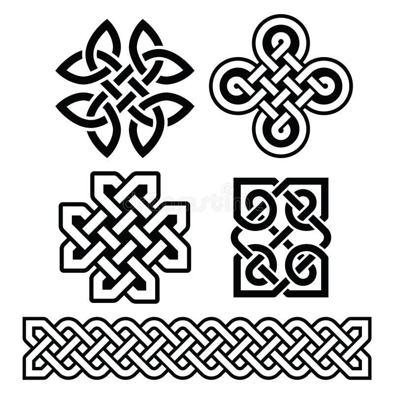 Celtic Irish patterns and braids - stock illustration