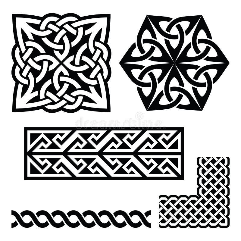 Celtic Irish and Scottish patterns - knots, braids, key patterns stock illustration