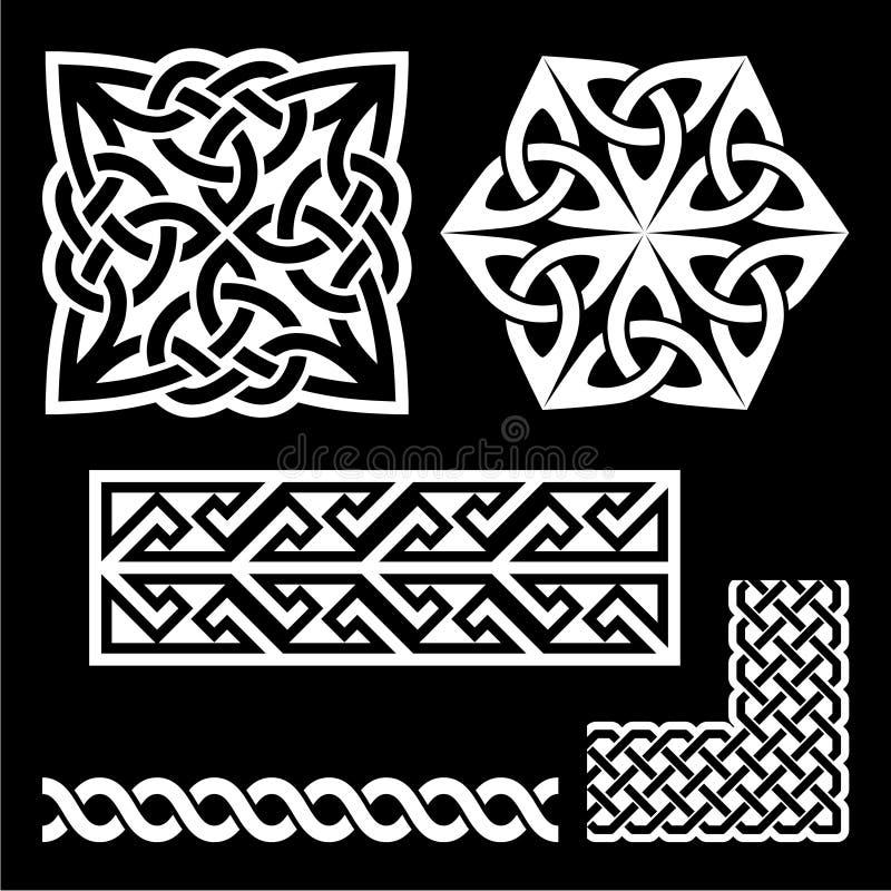 Celtic Irish and Scottish white patterns - knots, braids, key patterns stock illustration