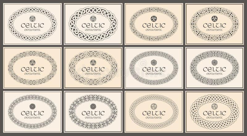 Celtic knot braided oval frame border ornament. A4 size. Vector illustration set stock illustration