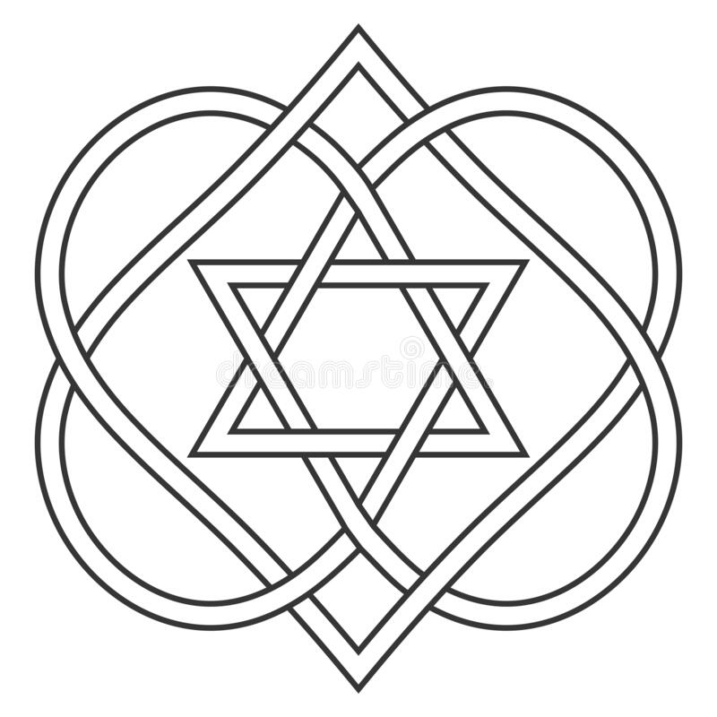 Free Celtic Knot Entwining Hearts And Stars Of David, Vector Jewish Heart Shape With Star Of David Art Two Hearts Are Woven Stock Image - 177297481