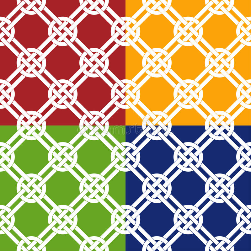 Chinese knot seamless pattern. 4 color variations royalty free illustration
