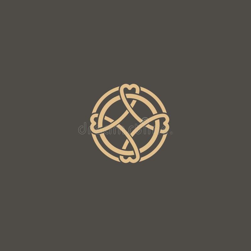 Celtic knot vector. Ornamental tattoo symbol. Luxury circle retro emblem.Traditional scottish vector logo. stock illustration