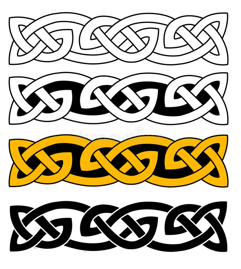 Celtic knots. Celtic ornament knots on white background. The knot comes in four different variations, including gold-colored one stock illustration