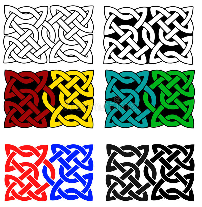 Celtic knots. Celtic ornament knots on white background. The knot comes in six different variations stock illustration