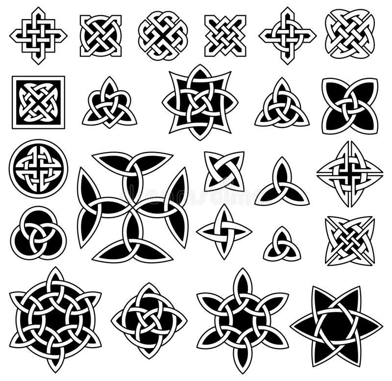 24 Celtic knots. Isolated on white background stock illustration