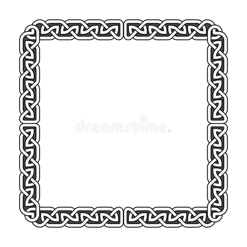 Celtic knots vector medieval frame in black and white royalty free illustration