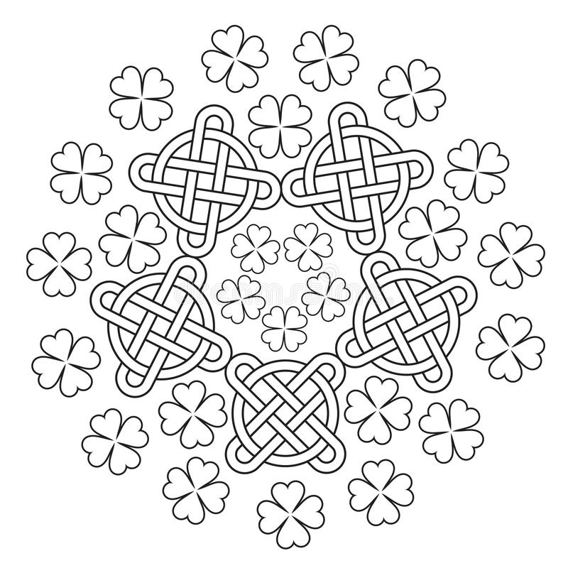 Celtic Mandala with knot ornament and clover of 4 leafs. stock illustration