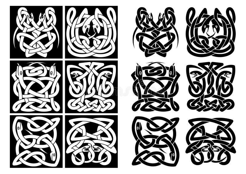 Celtic modeller för ormar och för reptilar stock illustrationer