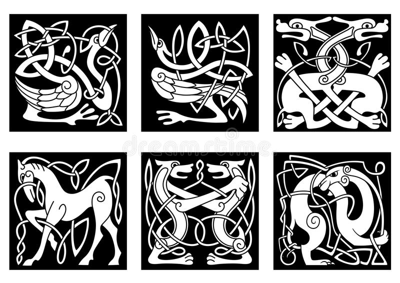 Celtic ornaments with animals royalty free illustration
