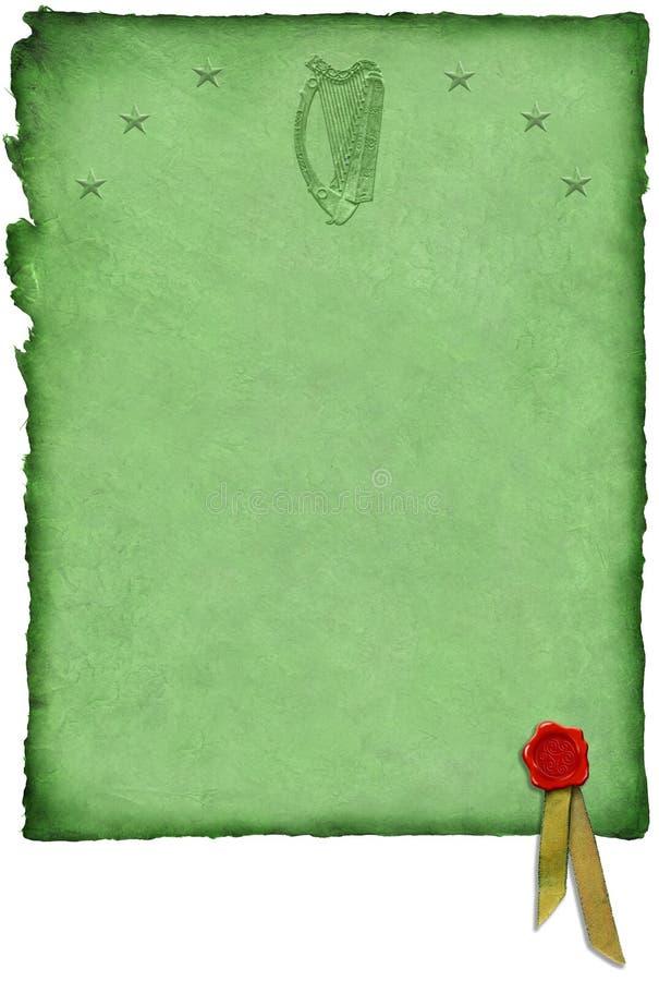 Celtic Parchment w/ Harp stock illustration